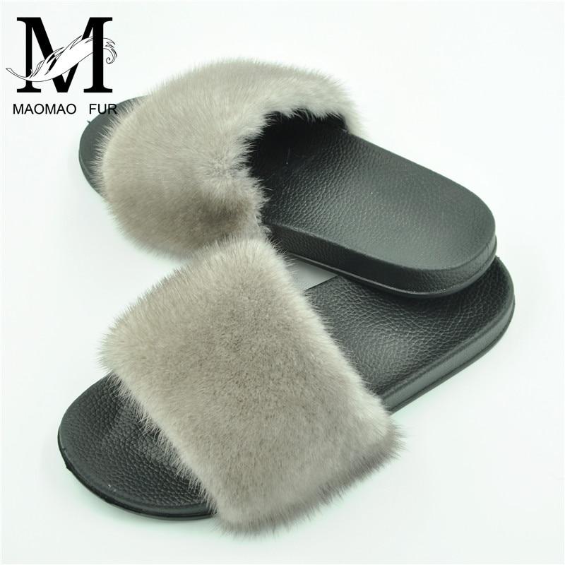1e7e7243cc84 New Women Mink Fur Slippers Fluffy Real Mink Hair Slides Flat Soft Indoor Flip  Flops Beach