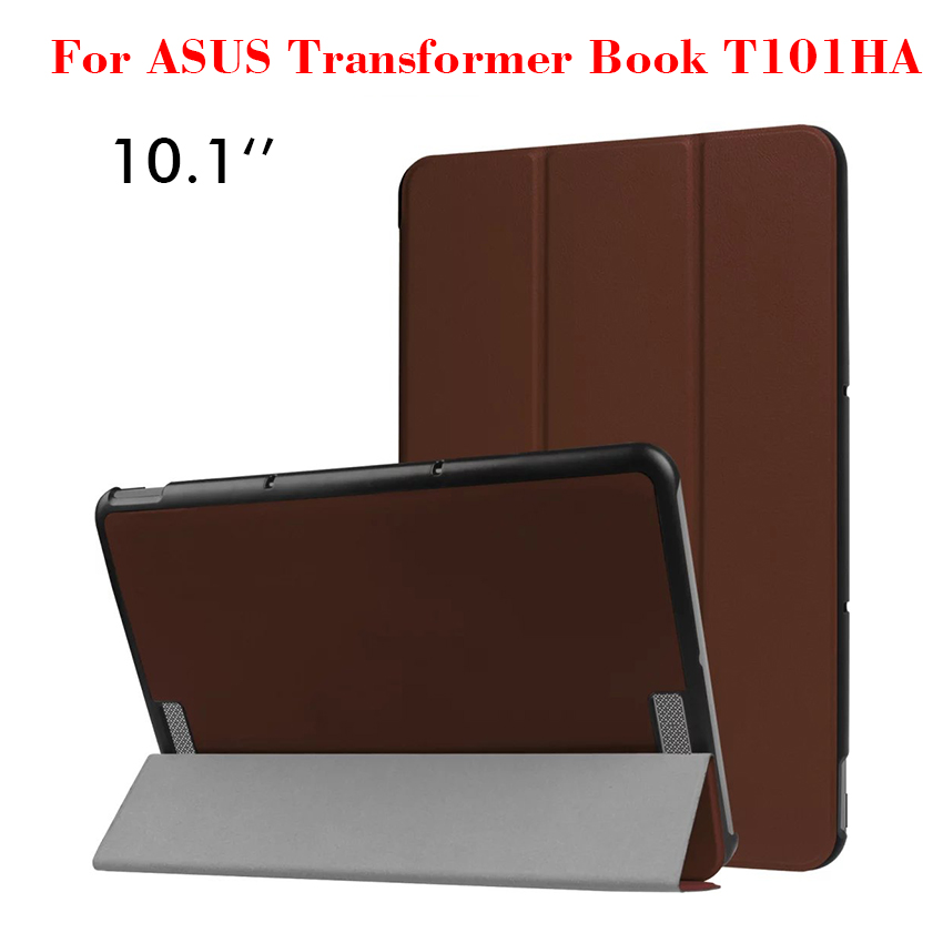 PU Leather Case For ASUS Transformer Book T101HA Flip Slim Caster Smart Tablet Case Cover 10.1'' Protective Stand Shell Skin New protective pu leather case for asus eee pad transformer tf101 black