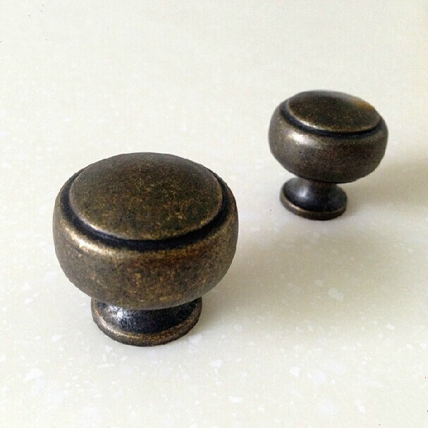 30mm Vintage Distress Furniture Knobs Antique Brass Drawer Kitchen