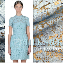 Milk Silk soluble lace fabric light blue hollow three-dimensional flowers high-end dress coat fabric