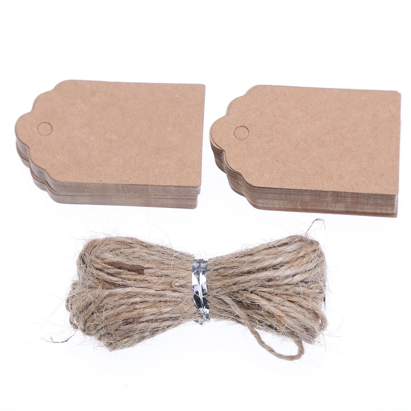100PCS Natural Brown Kraft Paper Tags With Jute Twine For DIY Gifts Crafts Price Tags Luggage Tags Name Tags