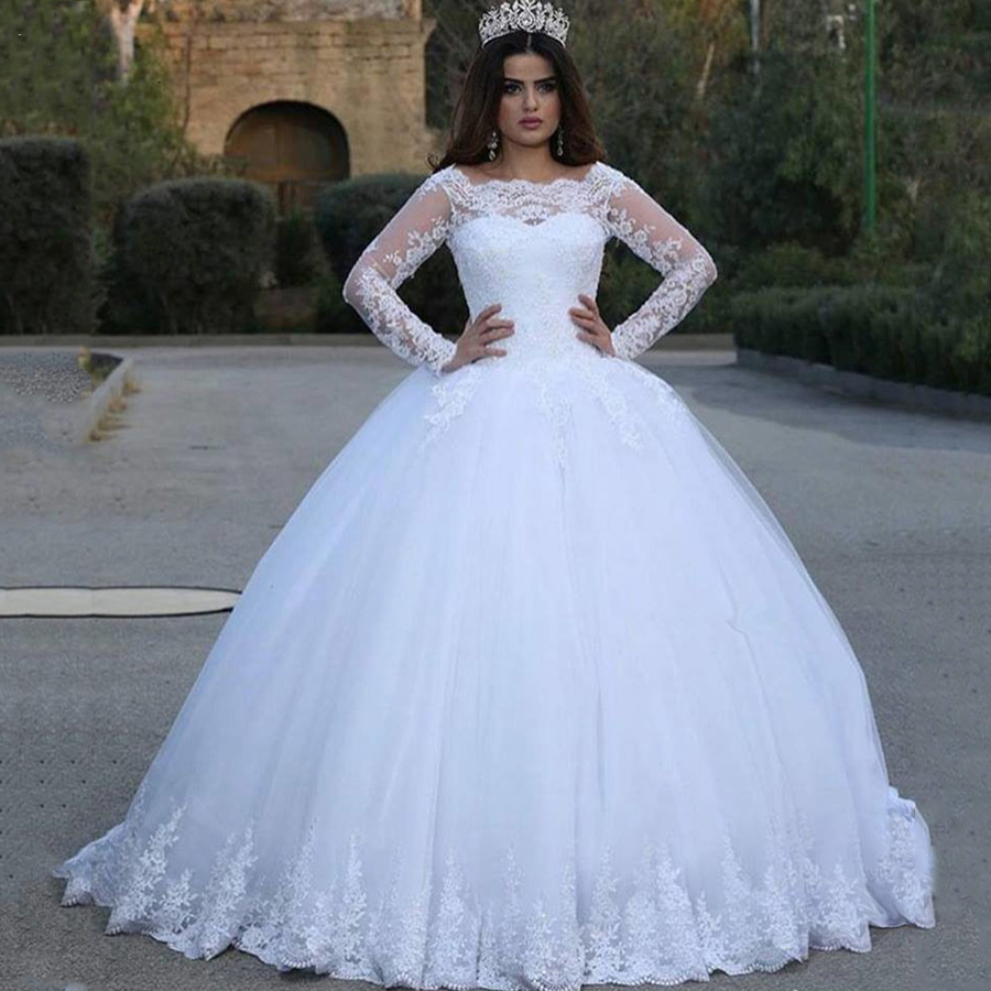 E JUE SHUNG White Vintage Lace Appliques Long Sleeves Cheap Wedding Dresses Ball Gown Wedding Gowns