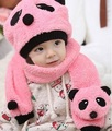 2017 Autumn and winter freeshipping Wool cap with scarf  hat boys and girlspanda design fashion winter cap set