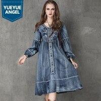 New Fashion Embroidery Women Dress Jean Denim Indie Folk Female Brand Dress Loose Vestidos Robe Femme Lantern Sleeve Plus Size