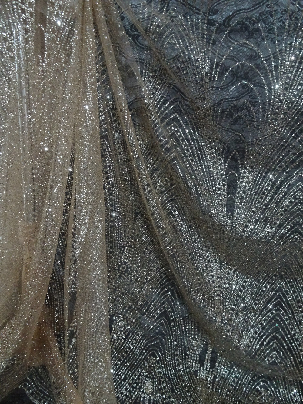 5 yards David 168 35 modern design hand print glued glitter tulle mesh fabric for wedding