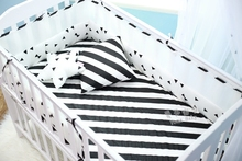 Breathable mesh Crib Bumpers black white Triangle dots  trees  Cotton Baby Bed Bumper Liner Baby Cot Sets Bed Around Protector