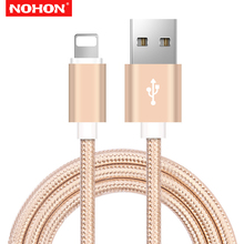 NOHON Cable for iPhone 5s 1m 2m 3m 2.4A Fast Charger Lighting USB Cables Charging Cord For iPhone Xs 8 7 6s Plus iPad mini 2 3 4 гарнитура qcyber roof black red звук 7 1 2 2m usb