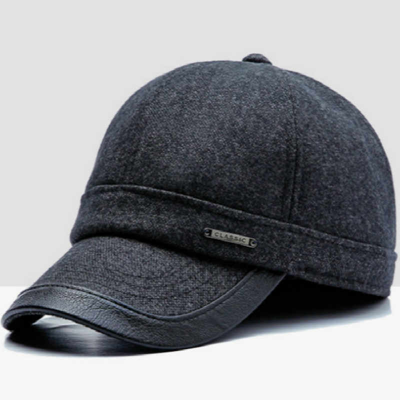 08c6bffe9e1 ... Winter Baseball Cap Earflaps For Men High Quality Retro Wool Snapback  Hat Cap Adjustable Thickened Warm ...