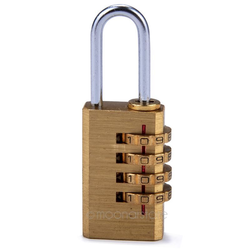 New 4 Digit Metal Gold Combination Lock Password Number Security Plus Padlock for Travel Luggage Security 7
