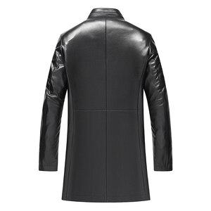 Image 2 - Gours Winter Echtem Leder Jacke für Männer Mode Marke Leder Schwarz Schaffell Lange Jacken und Mäntel Warme Neue Ankunft 4XL