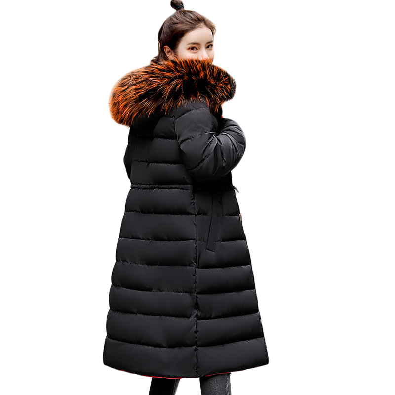 High Quality Women Winter Jacket Big Fur Hooded Long Warm Thicken Female Coat Long   Parka   Both Two Sides Can Be Wear   Parka   CM1052