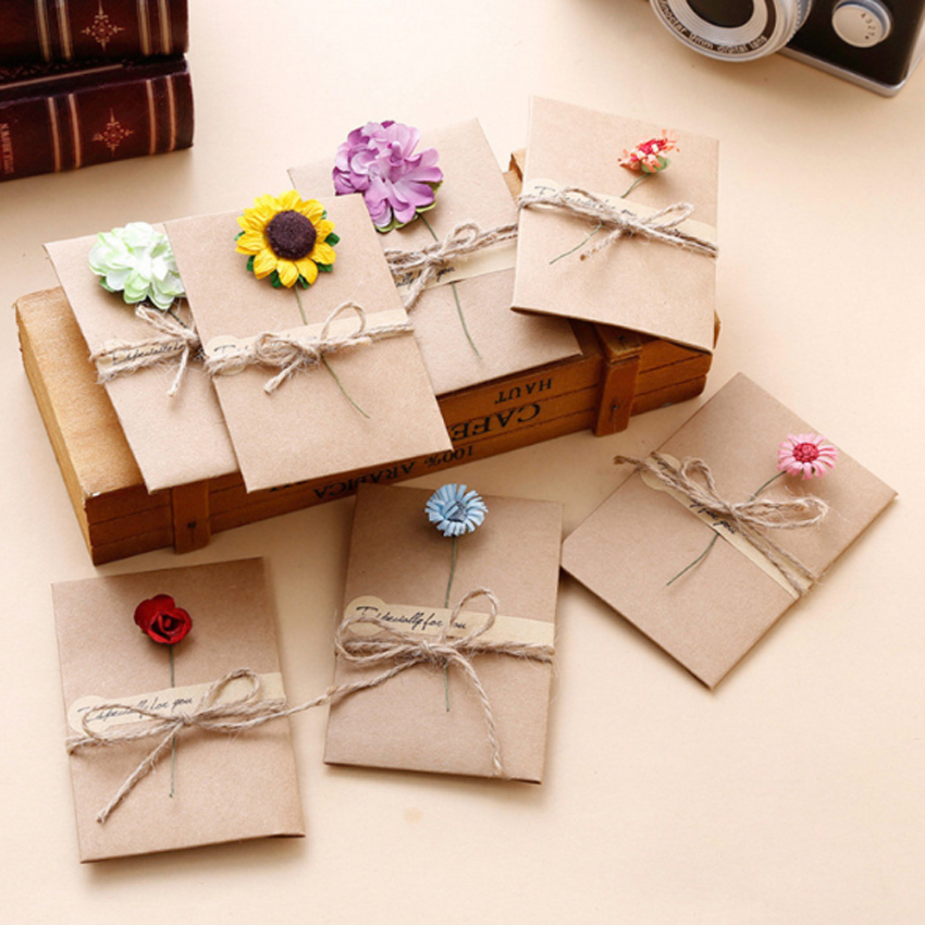 1pack/lot Retro DIY Kraft Paper Handmade Dried Flowers With Envelope Greeting Card Christmas New Year Card Birthday Gift