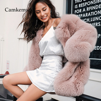 CamKemsey Elegant Pink Faux Fur Coats For Women 2019 New High Quality Thick Warm Oversize Fake Rex Rabbit Fur Furry Coats