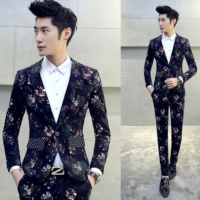 eb66156fe416 (Jacket + Pant) Mens Flower Suit New Brand Floral Print Suit Party Wedding  Suits