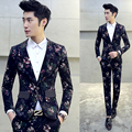 (Jacket + Pant) Mens Traje de Flor Nueva Marca de la Impresión Floral Del Partido Traje Trajes de Boda Hombre Slim Fit Diseñador Del Vestido Más El Tamaño 4Xl 5XL