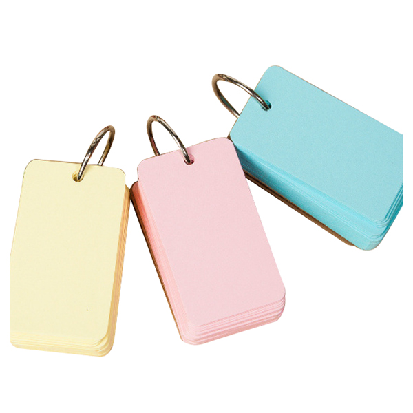 3pcs Binder Ring Easy Flip Flash Cards Study Cards, 100 Blank Pages,yellow+blue+pink цены