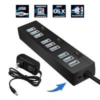 10 Ports USB HUB USB 3.0 High Speed 5 Gbps LED USB Splitter With on/off Switch Power Adapter for PC Laptop Compute Accessories