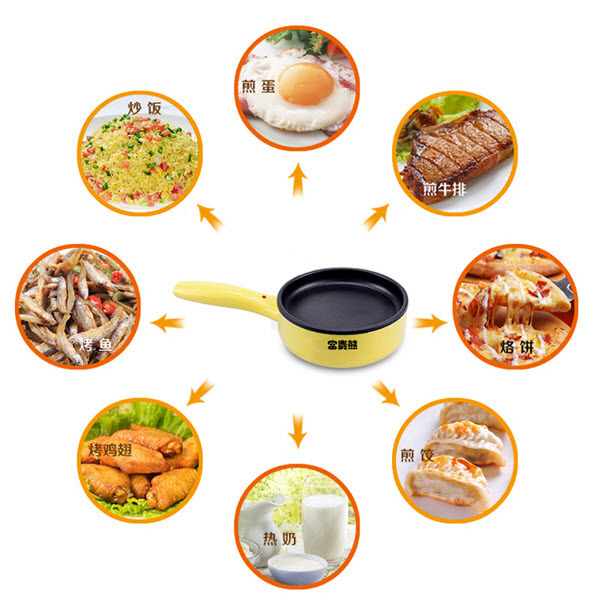 Mini Multifunction Electric Frying Pan Fried Beef Steak Omelette Cook Egg Fried Fish Device Non Stick
