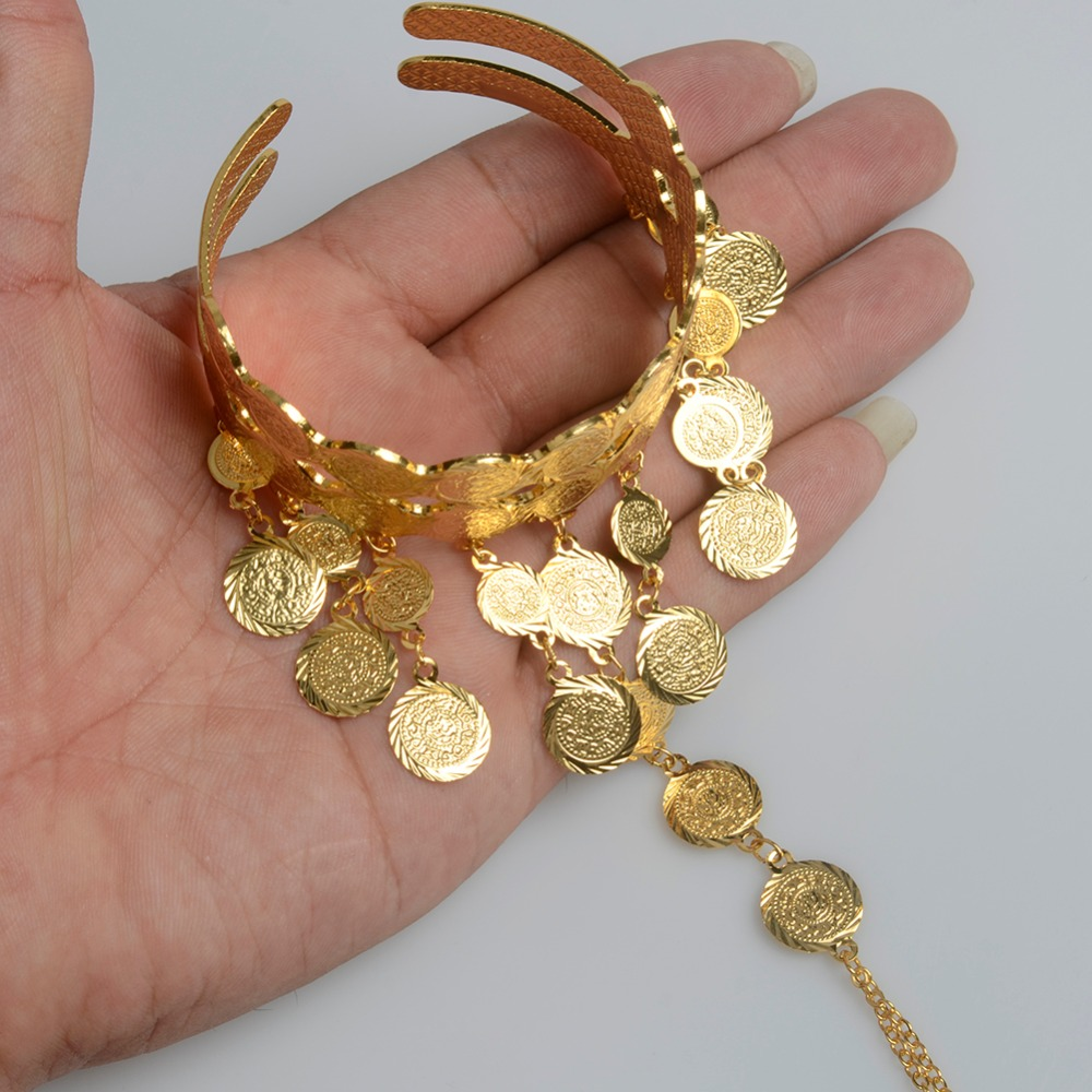 358b657192ca2 US $6.78 |Anniyo Arab Coin Cuff Bangle Gold Color for Women Muslim Ethnic  Bracelet Middle Eastern Jewelry Ethiopian Wedding Gifts #068206-in Bangles  ...