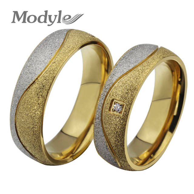 Modyle New Fashion Wedding Rings for Women and Men Gold Color