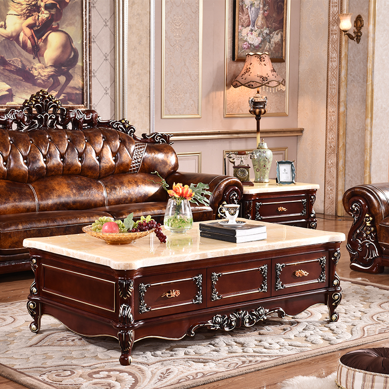 Upscale American Continental Carved Wood Coffee Table Marble Natural Stone Living Room Furniture