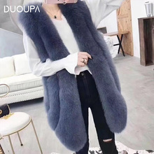 DUOUPA natural fox fur vest 75-90 cm fashion winter long section ladies jacket pocket leather Slim