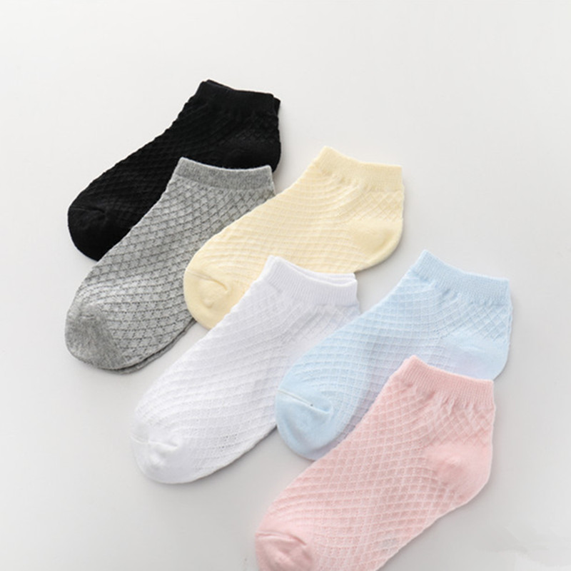 1Pair Spring Summer New Toddler Kids Cotton Socks Boy Girl Fashion Thin Mesh Socks For 1-12 Years Children Solid Color Socks