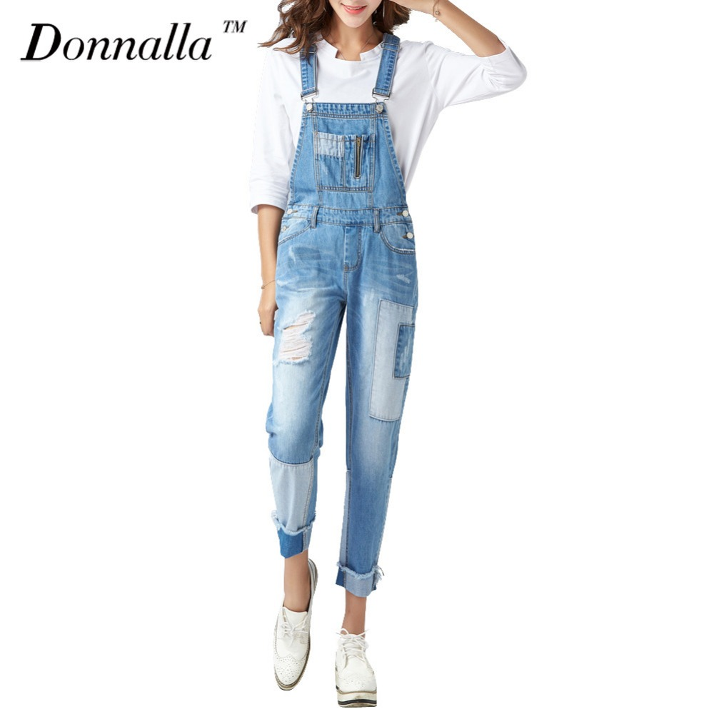 Donnalla Women Jeans Fashion Boyfriend Style Loose Denim Overalls Pants Hiphop Casual Streetwear Denim Pants women jeans autumn new fashion high waisted boyfriend street style roll up bottom casual denim long pants sp2096
