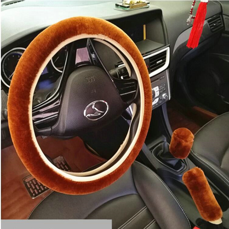3pcs/1set Wool Soft Warm Plush Steering Wheel Cover Sets Spring Handle Sleeves Auto Pillow Winter Supplies Car Cover styling