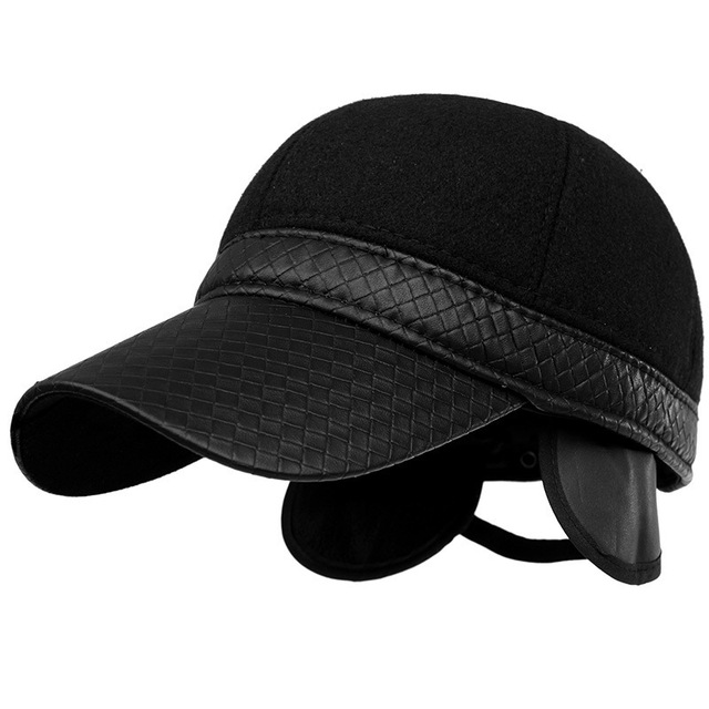 2016 High Quality Middle Aged Baseball Cap Snapback Winter Outdoor Wool Faux Leather Patchwork Mens Winter Hats Ear Flaps