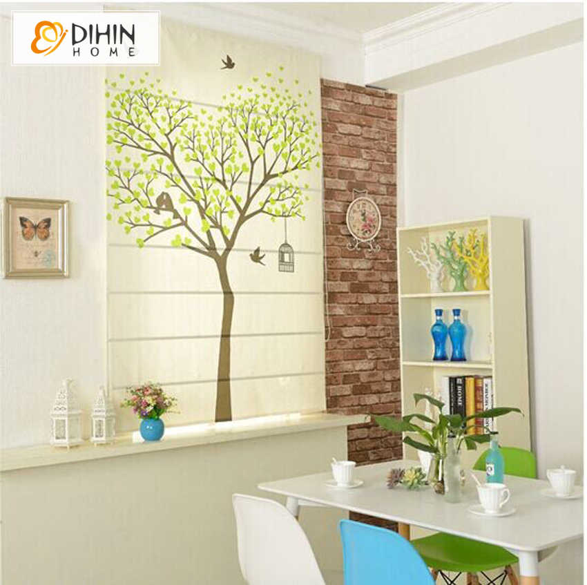 Free Shipping Pastoral Tree Printed Curtain Window Treatment Roman Blinds Customized Size Roller Blind Free Shipping