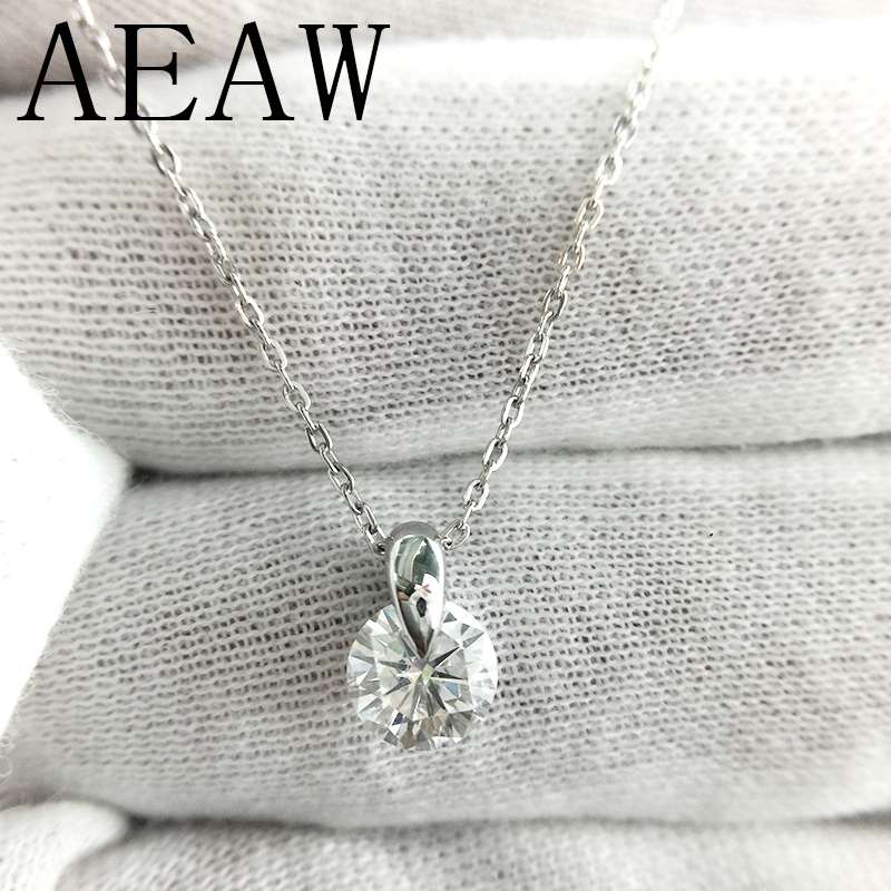 AEAW 18K White Gold Moissanite Pendant 1ct 6 5mm F Color Round Moissanite Pendant Necklace for
