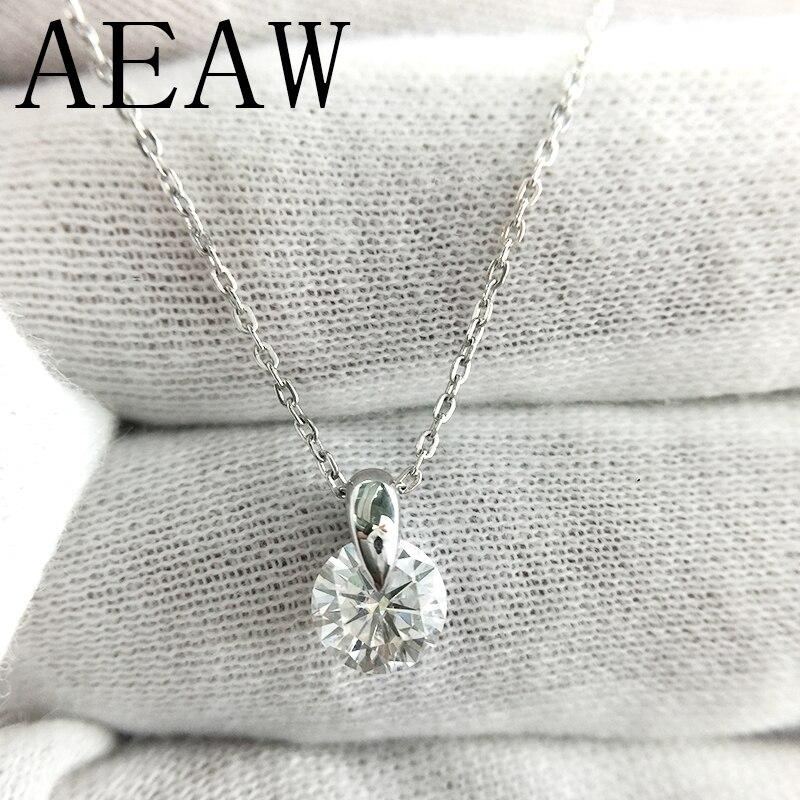 AEAW 14 K or blanc Moissanite pendentif 1ct 6.5mm F couleur ronde Moissanite pendentif collier pour les femmesAEAW 14 K or blanc Moissanite pendentif 1ct 6.5mm F couleur ronde Moissanite pendentif collier pour les femmes