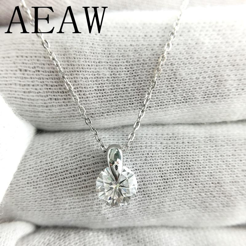 AEAW 18K White Gold Moissanite Pendant 1ct 6.5mm F Color Round Moissanite Pendant Necklace for Women