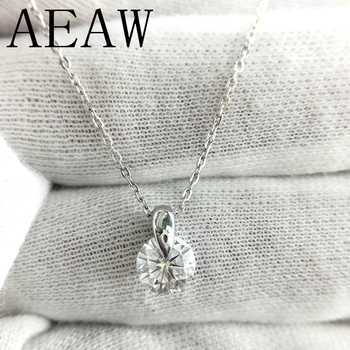AEAW 18K White Gold Moissanite Pendant 1ct 6.5mm F Color Round Moissanite Pendant Necklace for Women - DISCOUNT ITEM  0% OFF All Category