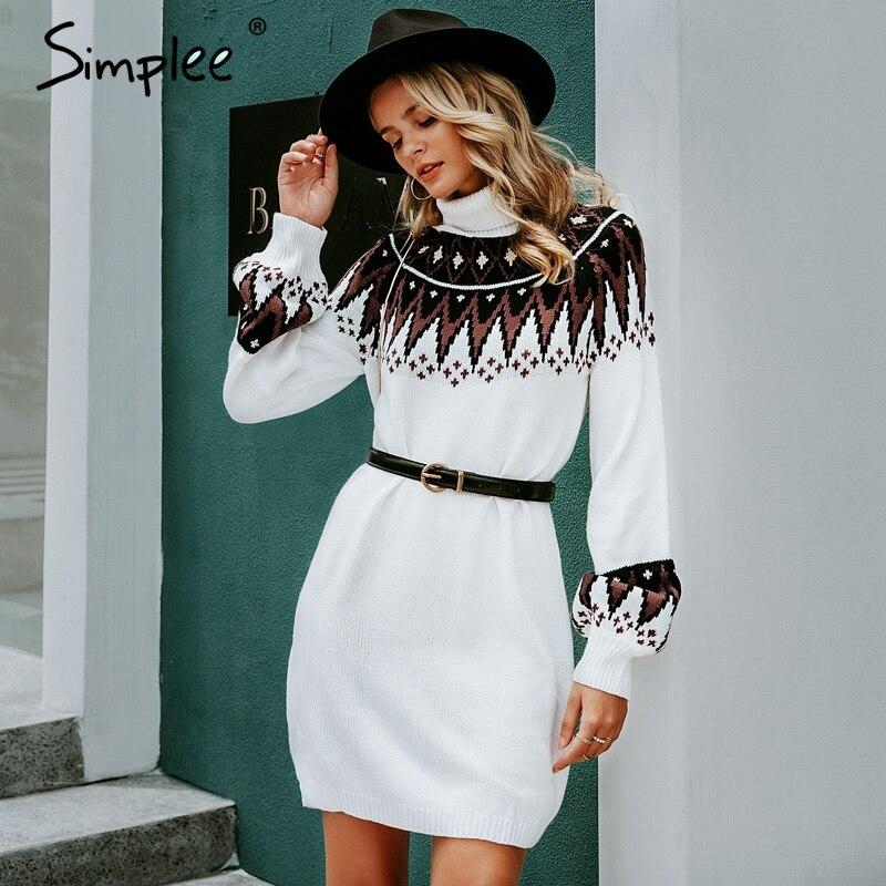 Simplee Geometric Print Knitted Dress Women Casual Turtle Neck Pullover Sweater Dress Female Autumn Winter Retro White Vestidos