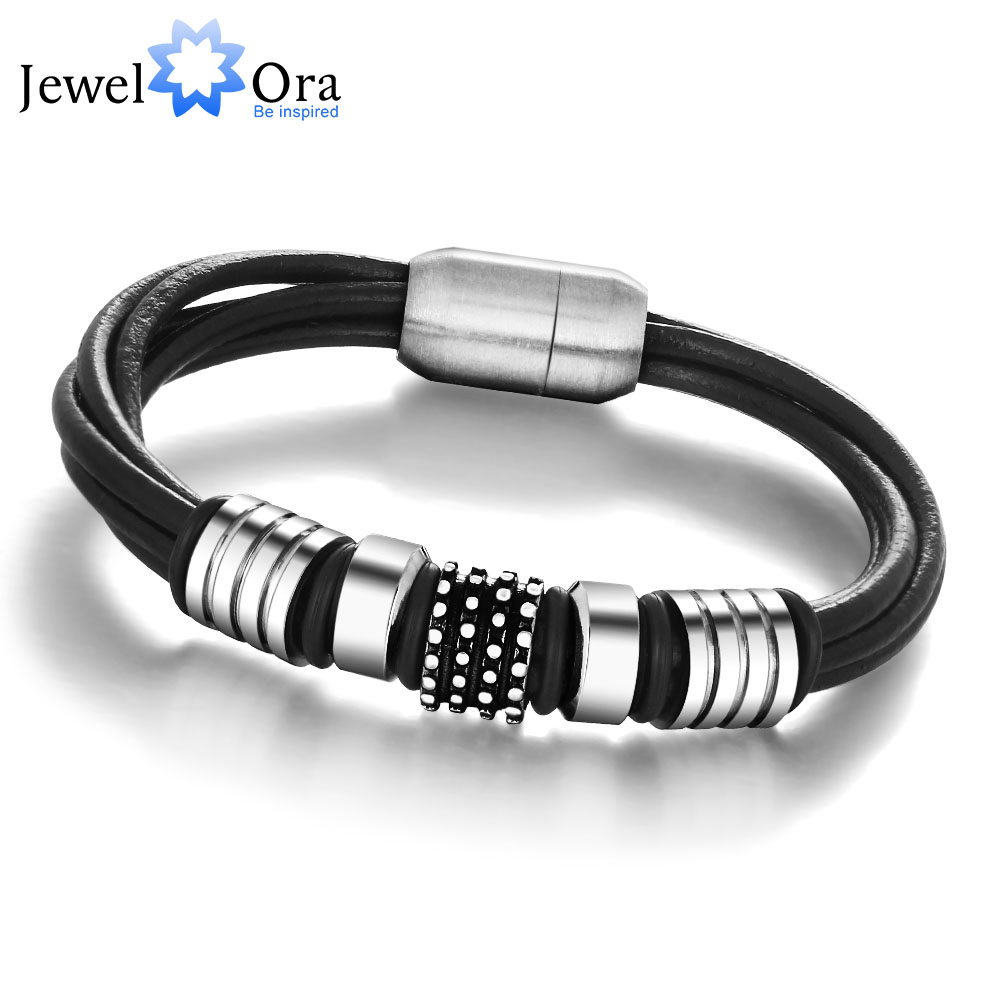 Rope Chain Men Bracelet Stainless Steel Genuine Leather Bracelet Men Jewelry Anniversary Gift for Him(JewelOra BA101173) opk biker stainless steel men bracelet