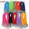 Регулируемая плетеная веревка для ожерелий и подвесок ручной работы, застежка-карабин, шнур «сделай сам», 2 мм, 10 шт./Лот, 45 см + 5 см