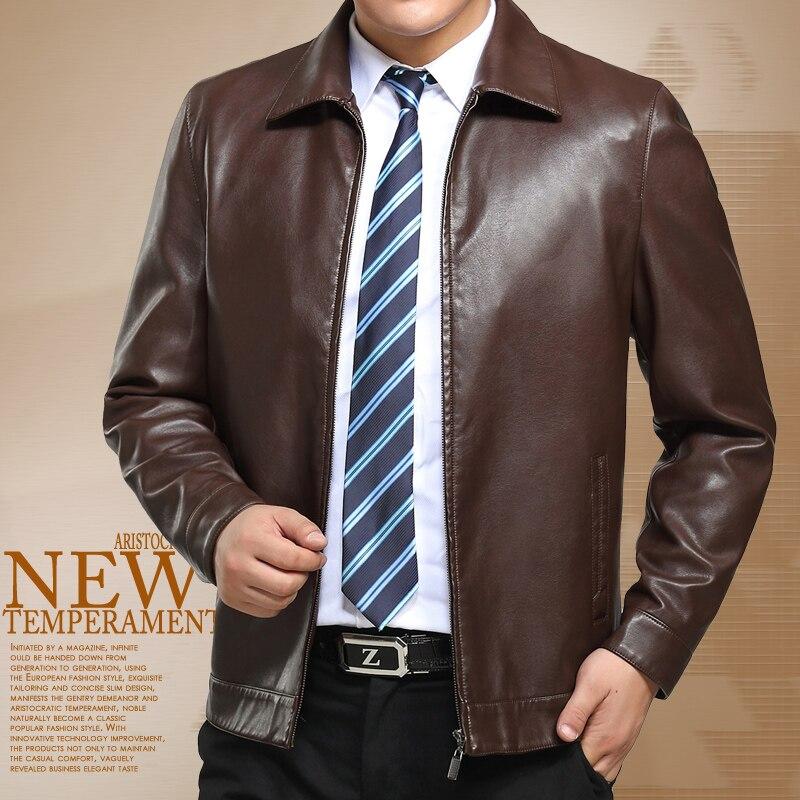 Free shipping brown yellow winter font b leather b font font b jacket b font men