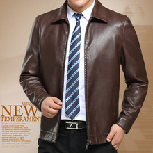 Free shipping brown yellow winter leather jacket men coat men s suit clothing long sleeve business