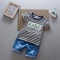 Дети С Коротким Рукавом в Полоску Футболка + джинсы Шорты 2 ШТ. устанавливает Лето 0-1-2-3-4 лет детская одежда