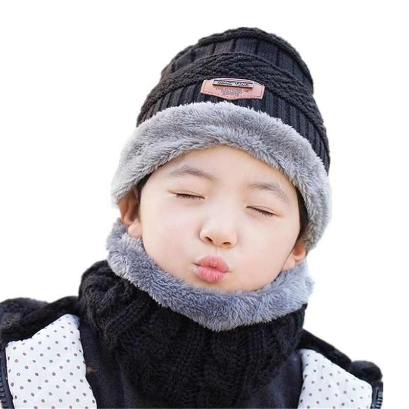 034f0b4df 2019 caliente niño 2 piezas súper cálido invierno pasamontañas de lana  sombrero de punto sombrero y