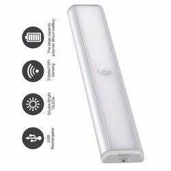 Sensor de movimento pir led sob a barra do armário luz usb recarregável armário armário armário iluminação portátil lâmpada led luzes da noite