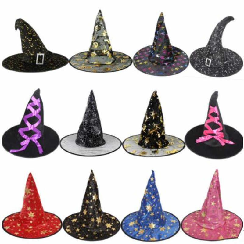 Witch Hats Masquerade Ribbon Wizard Hat Adult Kids Cosplay Costume  Accessories Halloween Party Fancy Dress Decor 36079f100ff