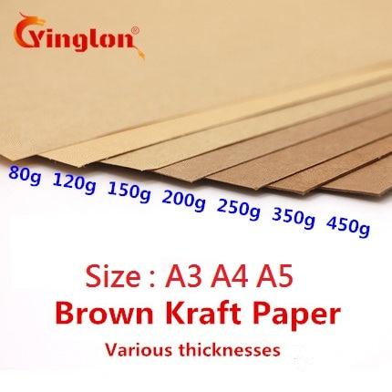 50pcs/lot A3 A5 A4 kraft paper brown paper craft thick board cardboard card paper DIY card making paper 80g 120g 150g 200g 250g
