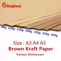 50pcs/lot  A5 A4 kraft paper brown paper craft thick board cardboard card paper DIY card making paper 80g 120g 150g 200g 250g Copy Paper    -