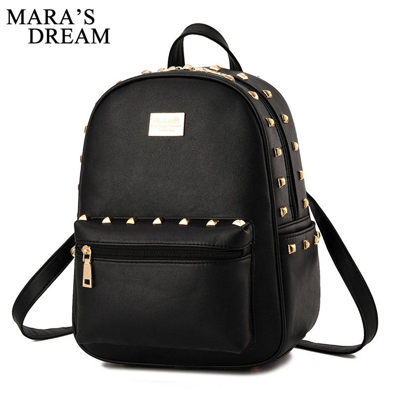 Mara's Dream Fashion Backpack Women High Quality PU Leather Backpacks For Teenage Girls School Bags Rivets Solid Shoulder Bag