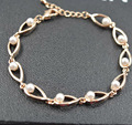Gift !Rose Gold Plated Zinc Charm Bracelets For Women Simulated Pearl Bracelets &Bangles  Fashion Jewelry  Let003