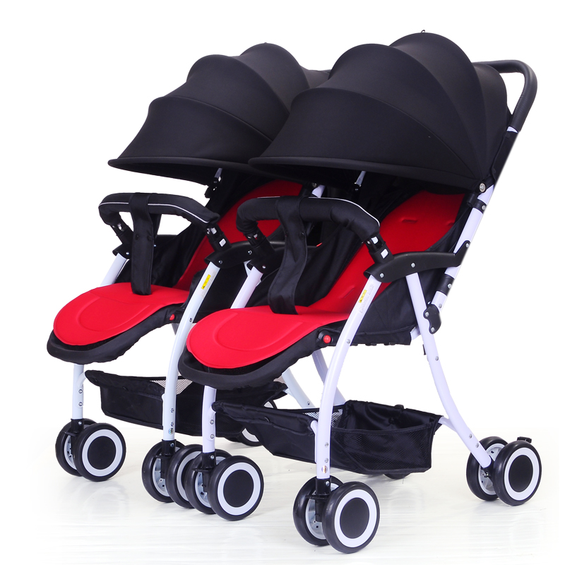 Twins Baby Stroller Can Split Baby Carriage Two-child Trolley Can Sit and Lie Double Baby Stroller for Twins Two Baby Pushchair angelguard high landscape twins baby stroller can split ultra light umbrella can be two color twins baby stroller
