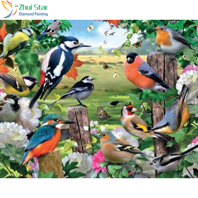 Zhui Star 5D DIY Full Square drill Diamond Painting Embroidery Birds in the forest Cross Stitch Rhinestone Mosaic home decor image